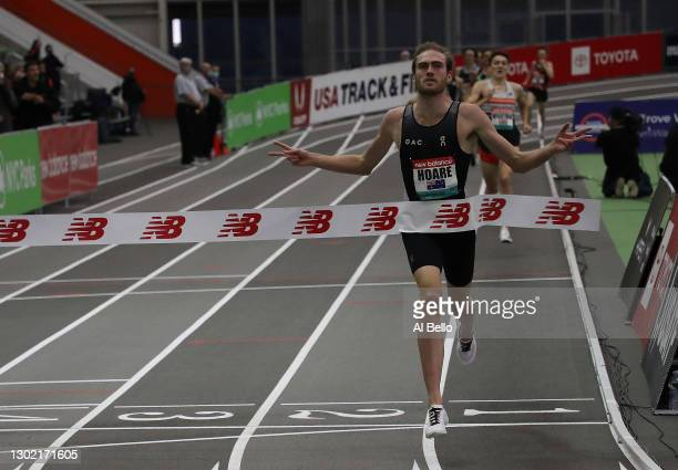 Oliver Hoare of Australia wins the Men's 1500m final during the New Balance Indoor Grand Prix at Ocean Breeze Athletic Complex on February 13, 2021...