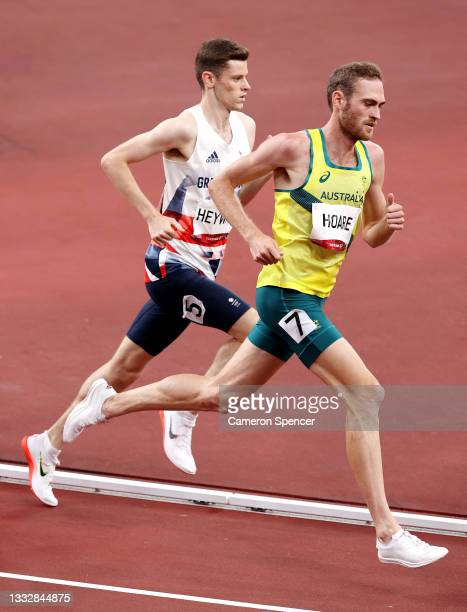 Oliver Hoare of Team Australia and Jake Heyward of Team Great Britain compete in the Men's 1500m Final on day fifteen of the Tokyo 2020 Olympic Games...