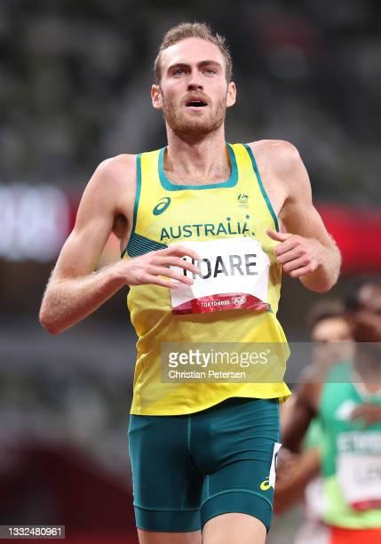 Oliver Hoare of Team Australia competes in the Men's 1500 metres semi final on day thirteen of the Tokyo 2020 Olympic Games at Olympic Stadium on...