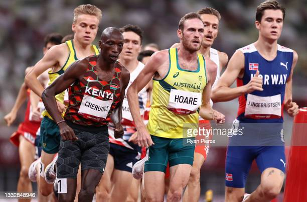 Oliver Hoare of Team Australia competes in the Men's 1500m Final on day fifteen of the Tokyo 2020 Olympic Games at Olympic Stadium on August 07, 2021...