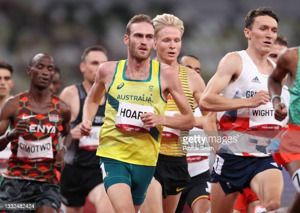 Oliver Hoare of Team Australia competes in the Men's 1500m Semi Final on day thirteen of the Tokyo 2020 Olympic Games at Olympic Stadium on August...