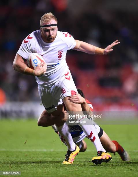 Oliver Holmes of England in action during a warm up match between England and France at Leigh Sports Village on October 17 2018 in Leigh Greater...