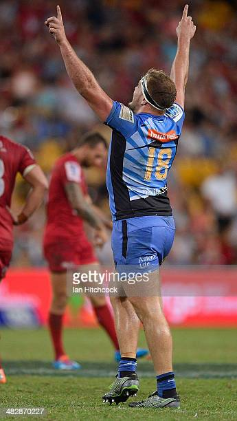 Oliver Hoskins of the Force celebrates after winning the round eight Super Rugby match between the Reds and the Force at Suncorp Stadium on April 5...