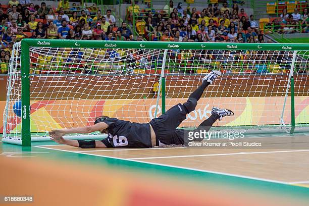 Oliver Hörauf of BFV Ascota Chemnitz/Sachsen [paralympic classification B2] too late to catch the ball on Day 3 of the Rio 2016 Paralympic Games...