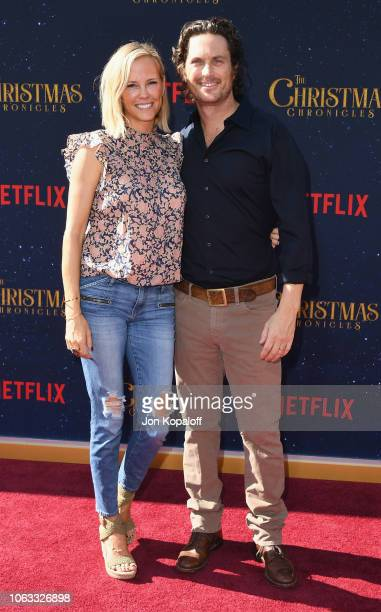 Oliver Hudson and Erinn Bartlett attend the premiere of Netflix's The Christmas Chronicles at Fox Bruin Theater on November 18 2018 in Los Angeles...