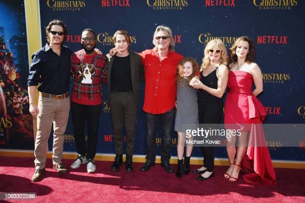 Oliver Hudson Lamorne Morris Judah Lewis Kurt Russell Darby Camp Goldie Hawn and Kimberly WilliamsPaisley attend 'The Christmas Chronicles' Premiere...
