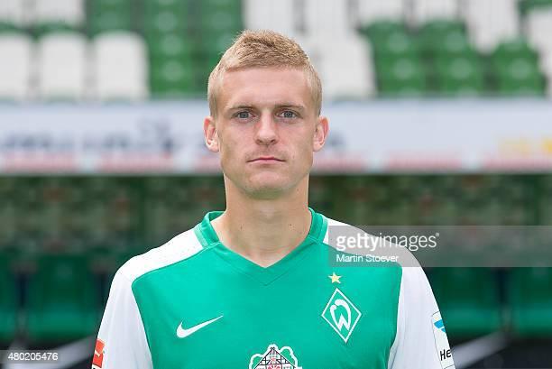 Oliver Huesing poses during the official team presentation of Werder Bremen at Weserstadion on July 10 2015 in Bremen Germany
