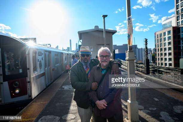 Oliver Hummel and his boyfriend Stanley Reed pose for a picture at a subway stop on June 14 2019 in New York City Oliver Hummel and Stanley Reed were...