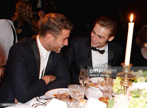 Oliver Jackson Cohen and Douglas Booth attend the BFI London Film Festival IWC Gala Dinner in honour of the BFI at Battersea Evolution Marquee on...