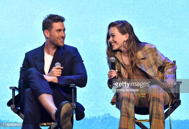 Oliver JacksonCohen and Victoria Pedretti speak onstage at the Netflix FYSEE Event for Haunting of Hill House at Raleigh Studios on May 21 2019 in...