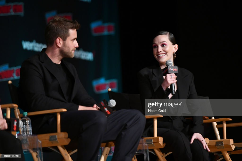 Oliver Jackson Cohen And Victoria Pedretti Speak Onstage At The News Photo Getty Images