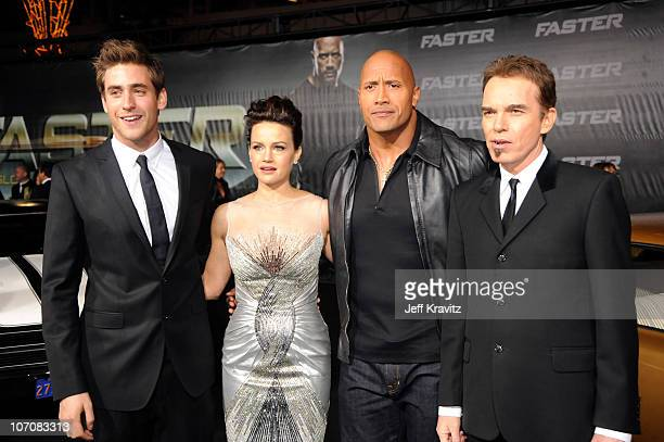 "Oliver Jackson-Cohen, Carla Gugino, Dwayne Johnson and Billy Bob Thornton attend the ""Faster"" premiere at Grauman's Chinese Theatre on November 22,..."