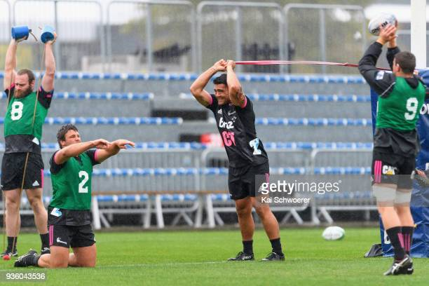Oliver Jager Ben Funnell and Codie Taylor warm up during the Crusaders Super Rugby captain's run at AMI Stadium on March 22 2018 in Christchurch New...