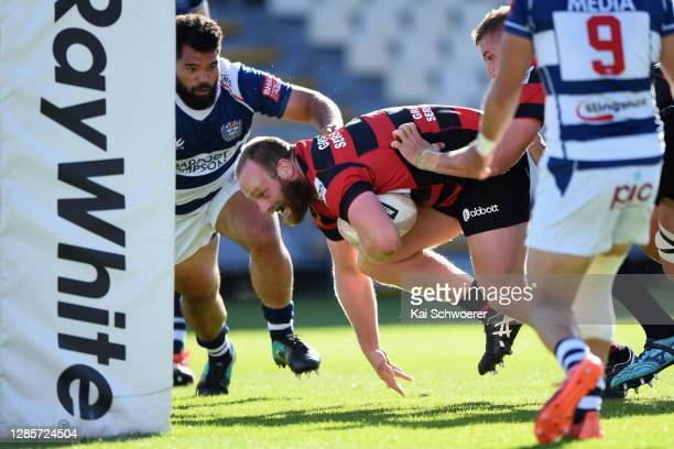 Oliver Jager of Canterbury dives over to score a try during the round 10 Mitre 10 Cup match between Canterbury and Auckland at Orangetheory Stadium...