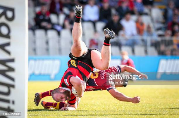 Oliver Jager of Canterbury is tackled during the round 4 Mitre 10 Cup match between Canterbury and Southland at Orangetheory Stadium on August 31...