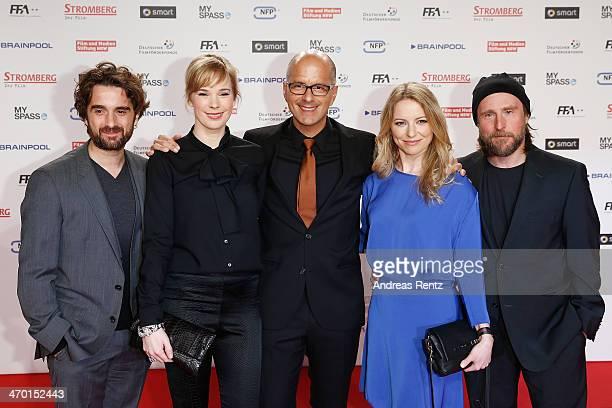 Oliver K Wnuk Milena Dreissig Christoph Maria Herbst Diana Staehly and Bjarne I Maedel attend the World premiere of Stromberg Der Film at Cinedom...