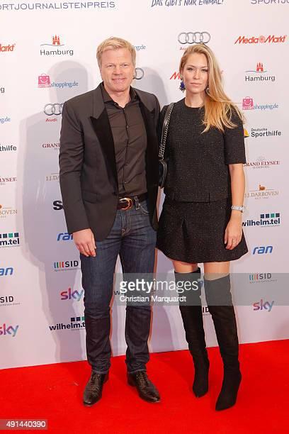 Oliver Kahn and partner Svenja Kahn attend the Deutscher Sportjournalistenpreis 2015 at Grand Elysee Hotel on October 5 2015 in Hamburg Germany