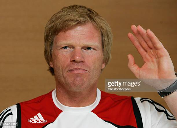 Oliver Kahn attends the press conference at the training camp of Bayern Munich on July 13 2007 in Donaueschingen Germany