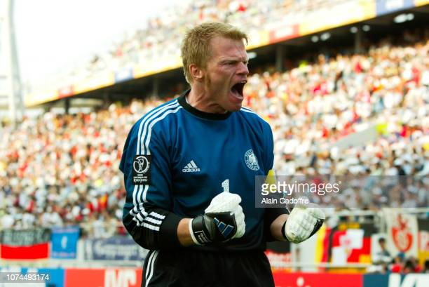 Oliver KAHN celebrates during the FIFA World Cup match between Germany and Paraguay on June 15 2002 in Jeju Stadium South Korea