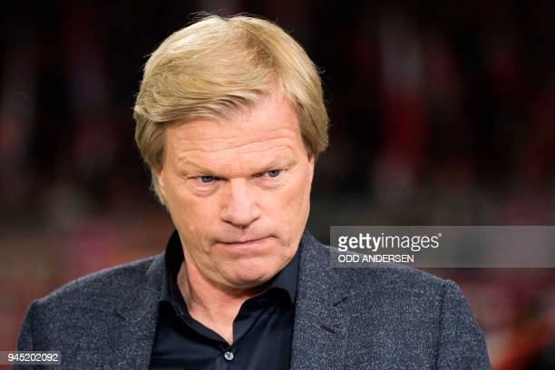 Oliver Kahn former German national team and Bayern Munich goalkeeper and now football TV commentator is seen prior to the UEFA Champions League...