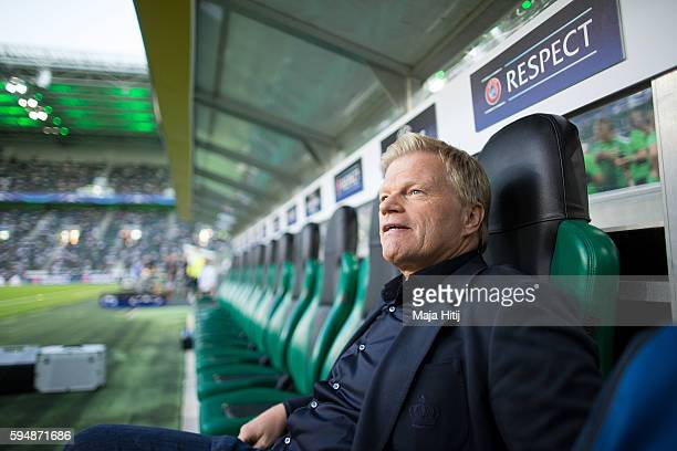 Oliver Kahn former goalkeeper of Bayern Muenchen sits prior to the UEFA Champions League Qualifying PlayOffs Round Second Leg between Borussia...