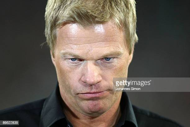 Oliver Kahn former goalkeeper of Bayern watches the penalty shootout of the Audi Cup tournament final match FC Bayern Muenchen v Manchester United at...