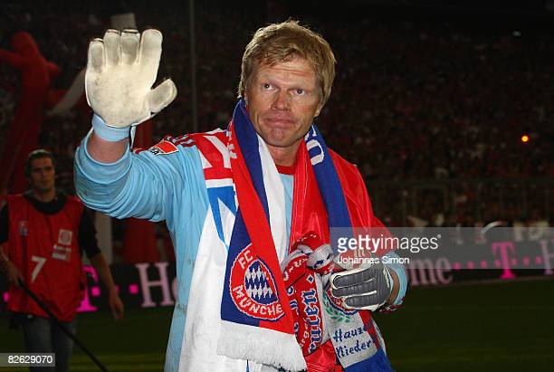 Oliver Kahn former goalkeeper of Muenchen bids a farewell to his supporters during the Oliver Kahn farewell match between FC Bayern Muenchen and...