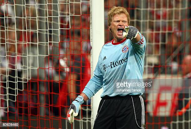 Oliver Kahn former goalkeeper of Muenchen shouts during the Oliver Kahn farewell match between FC Bayern Muenchen and Germany at the Allianz Arena on...