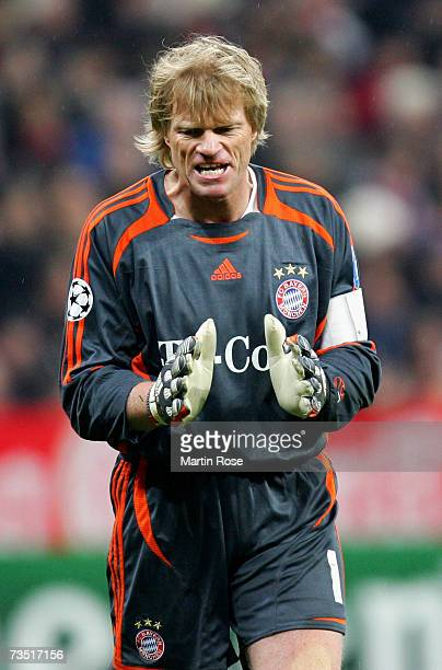 Oliver Kahn goalkeeper of Munich reacts during the UEFA Champions League round of sixteen second leg match between Bayern Munich and Real Madrid at...