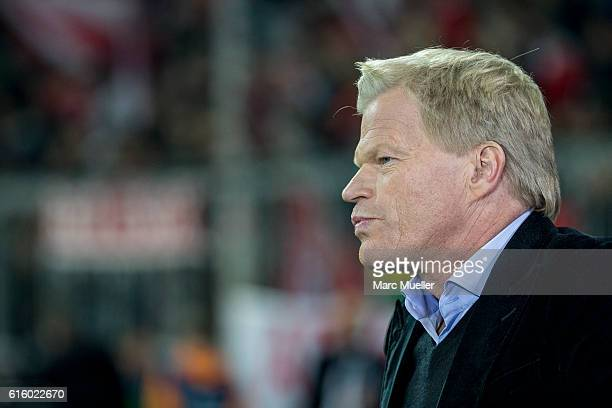 Oliver Kahn is seen before the UEFA Champions League group D match between Bayern Munich and PSV Eindhoven at Allianz Arena on October 19 2016 in...