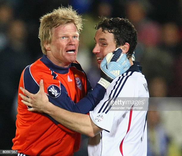 Oliver Kahn keeper of Bayern Munich celebrates winning the match with his team mate Mark van Bommel after the UEFA Cup quarter final second leg match...