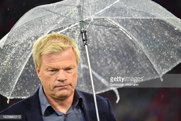 Oliver Kahn looks on prior to the Bundesliga match between FC Bayern Muenchen and TSG 1899 Hoffenheim at Allianz Arena on August 24 2018 in Munich...