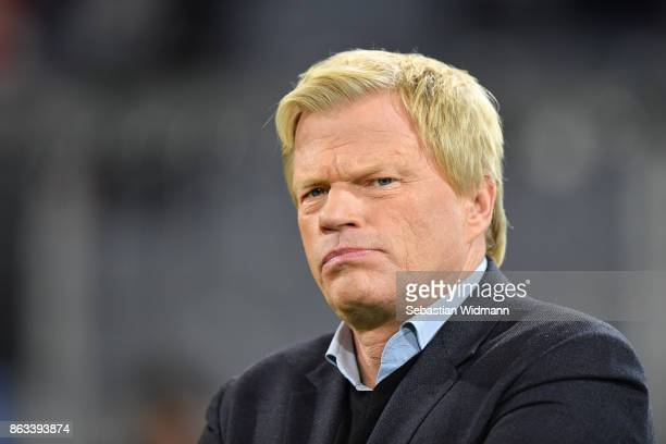 Oliver Kahn looks on prior to the UEFA Champions League group B match between Bayern Muenchen and Celtic FC at Allianz Arena on October 18 2017 in...