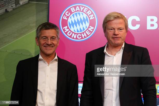 Oliver Kahn new member of the FC Bayern Muenchen board and Herbert Hainer president of FC Bayern Muenchen pose after a press conference at Allianz...