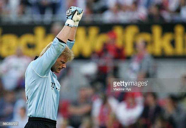 Oliver Kahn of Bayern celebrates the second goal of Bayern during the Bundesliga match between 1FC Cologne and Bayern Munich at the Rhein Energie...