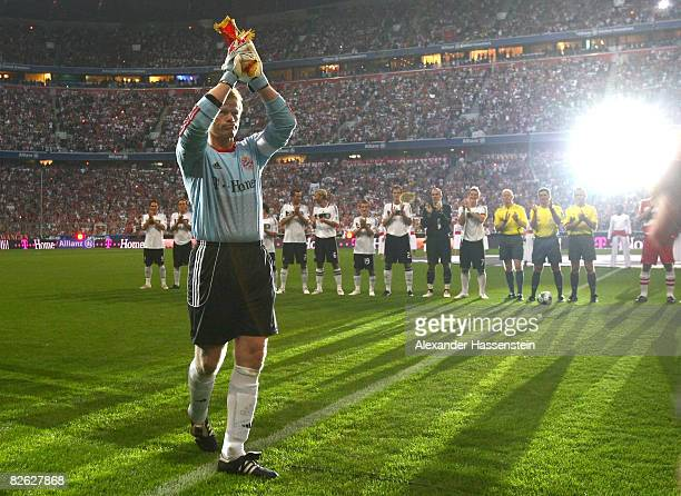 Oliver Kahn of Bayern Munich enters the fields for his farewell match between FC Bayern Muenchen and Germany at the Allianz Arena on September 2 2008...