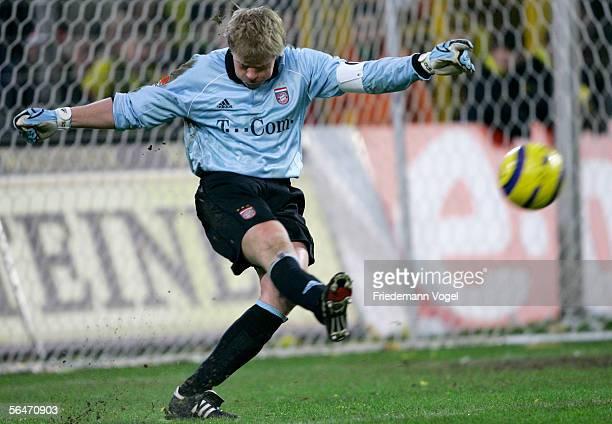 Oliver Kahn of Bayern Munich kicks the ball up field during the Bundesliga match between Borussia Dortmund and Bayern Munich at the Signal Iduna Park...
