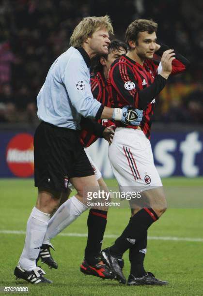 Oliver Kahn of Bayern reacts after Andriy Shevchenko of Milan failed to score with a penalty during the UEFA Champions League Round of 16 second leg...