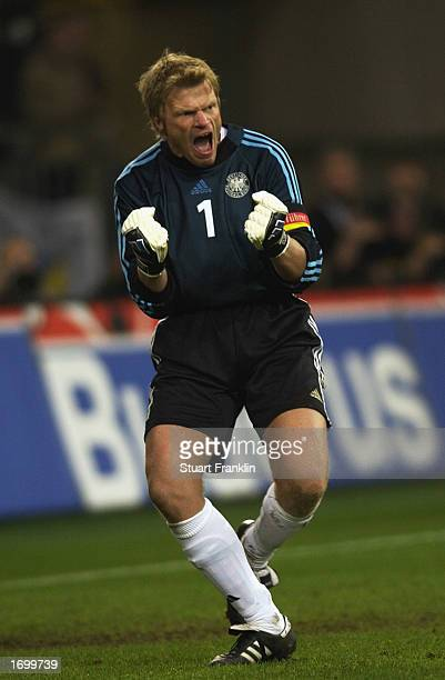 Oliver Kahn of Germany celebrates Germany's goal during the international friendly between Germany and Holland held on November 20, 2002 at The Auf...