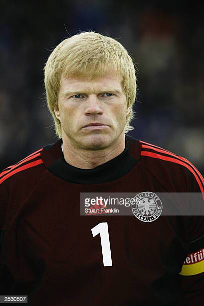 Oliver Kahn of Germany during the team lineup prior to the Euro 2004 Championship qualifying match between Iceland and Germany on September 6 at The...