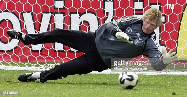 Oliver Kahn of Germany in action during the training session of the German National Team for the FIFA Confederations Cup 2005 on June 22, 2005 in...