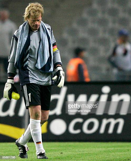Oliver Kahn of Germany looks dejected after the friendly match between Turkey and Germany at the Ataturk Olympic Stadium on October 8 2005 in...