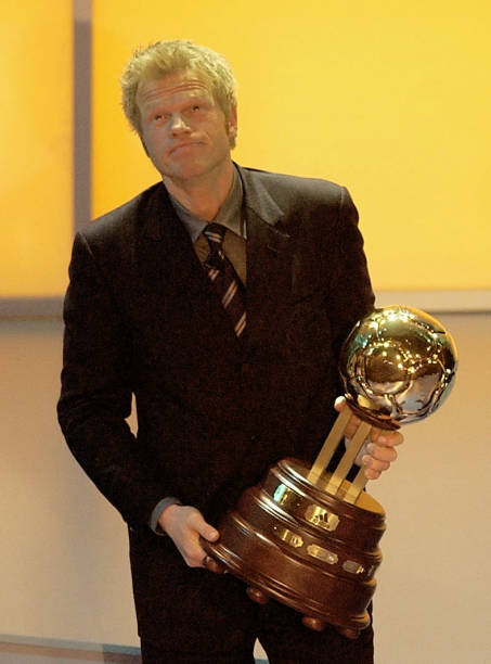 Oliver Kahn of Germany wins the adidas Golden Ball award during the 2002 FIFA World Player Gala at the Palacio de Congresos on 17th December 2002 in...