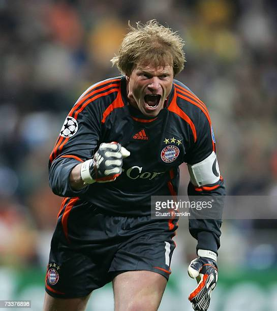 Oliver Kahn of Munich reacts to the second Munich goal during the UEFA Champions League round of 16 first leg match between Real Madrid and Bayern...