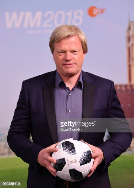 Oliver Kahn poses for a picture during the ARD and ZDF FIFA World Cup presenter team presentation on April 23 2018 in Hamburg Germany