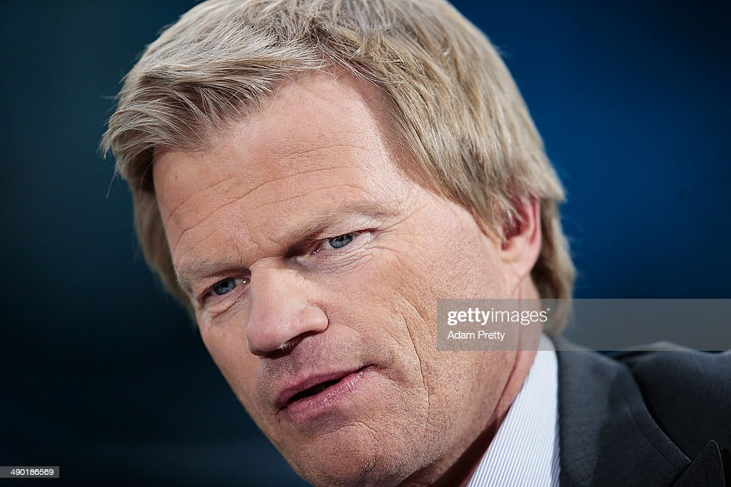 Oliver Kahn prpeares to host the pre match interview before the International Friendly match between Germany and Poland at Imtech Arena on May 13, 2014 in Hamburg, Germany.