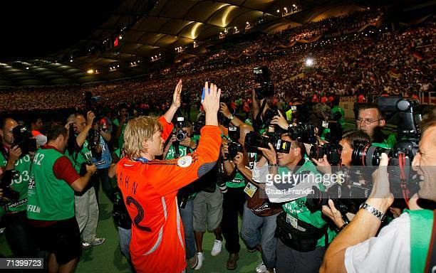 Oliver Kahn the German goalkeeper celebrates after the FIFA World Cup Germany 2006 Third Place Play-off match between Germany and Portugal played at...
