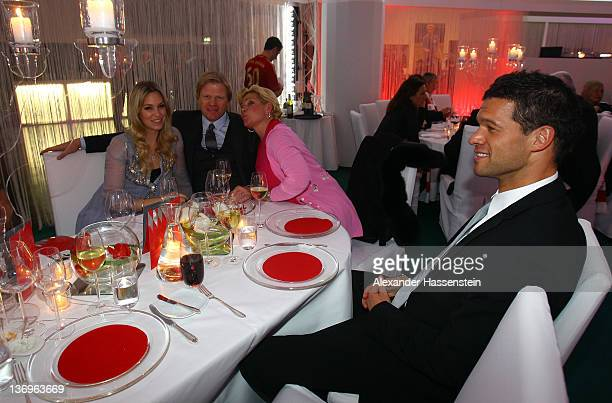 Oliver Kahn with wife Svenja Claudia Effenberg and Michael Ballack attend the Uli Hoeness' 60th birthday celebration at Postpalast on January 13 2012...