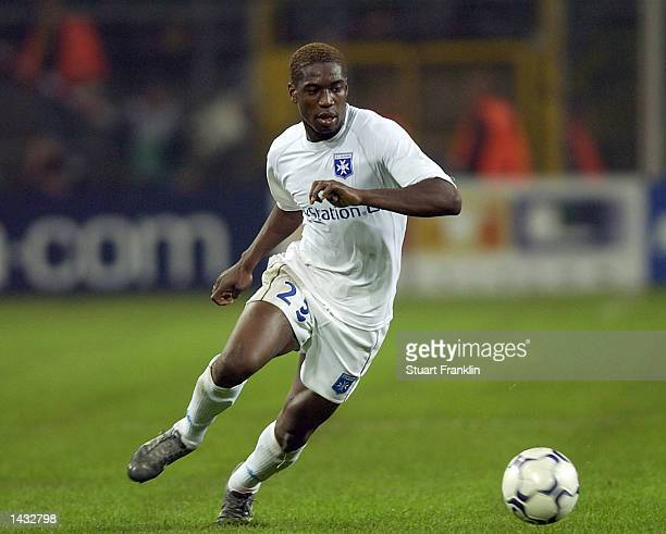 Oliver Kapo of Auxerre in action during The Champions League Group A match between BV Borussia Dortmund and AJ Auxerre at The Westfalen Stadium in...