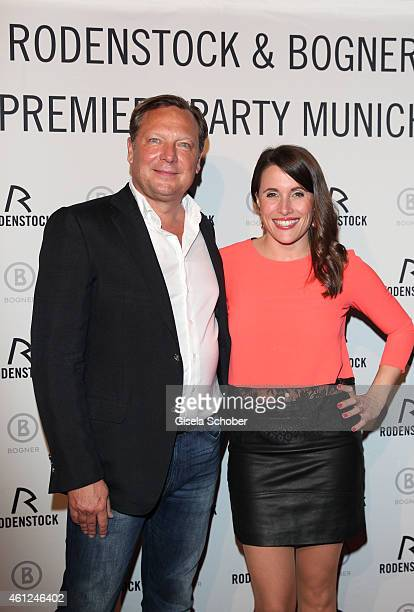 Oliver Kastalio CEO Rodenstock Birgit Noessing during the Rodenstock Bogner premiere party at P1 on January 9 2015 in Munich Germany